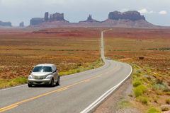 Monument Valley, USA. Lonely car on road in Monument Valley, Arizona, USA Stock Photo