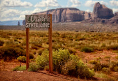 Monument Valley and the Utah state line sign Royalty Free Stock Photography