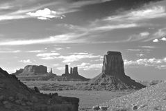 Monument Valley View. This is a view of Monument Valley in Black and White Royalty Free Stock Photography