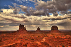 Monument Valley view in the afternoon, cloudy sky, HDR Royalty Free Stock Photos