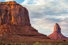 Monument Valley. View of Merrick Butte and East Mitten Butte, Monument Valley Navajo Tribal Park Royalty Free Stock Photography