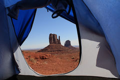 Monument Valley view from tent. USA, Monument Valley view from tent Stock Photo