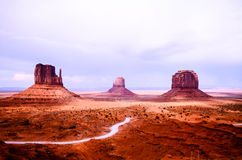 Monument Valley from Visitor Center, Mitten Buttes and Merrick Butte Stock Image