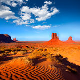 Monument Valley West and East Mittens Butte Utah. Monument Valley West and East Mittens Butte desert sand dunes Utah royalty free stock image
