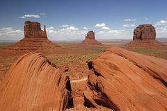 Monument Valley with West Mitten Butte, East Mitten Butte and Merrick Butte. Navajo Nation Reservation, Arizona and Utah, USA, United States of America royalty free stock photos