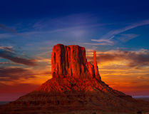 Monument Valley West Mitten at sunset sky. Monument Valley West Mitten at sunset colorful sky Utah royalty free stock photography