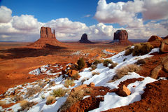 Monument Valley in Winter. Scene of the Mittens at Monument Valley w/snow royalty free stock photo
