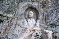 Monument van August Kobb Stichter van Slottskogen in Gothenburg, S Stock Fotografie