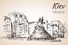 Monument van Bogdan Khmelnickiy vector illustratie