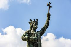 Monument van de Merrie van Stefan cel in Chisinau, Moldavië Stock Foto