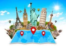 Monument van de wereld op een kaart Stock Afbeelding