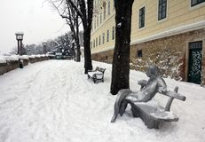 Monument van A G Matos in Zagreb door Ivan Kozaric stock foto's