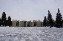 Monument van gloriestad van Novosibirsk stock fotografie