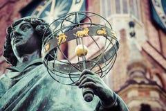 Monument van grote astronoom Nicolaus Copernicus, Torun, Polen Royalty-vrije Stock Foto's