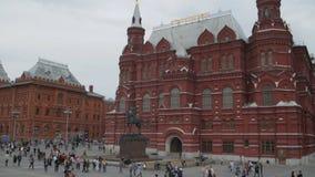 Monument van Hofmaarschalk Jukov en het Historische Museum van de Staat stock videobeelden