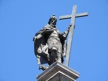 Monument van Koning Sigismund III in het vierkant voor Royal Palace in Warshau, Polen stock afbeelding