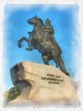 Monument van Peter de Rooster in St. Petersburg Tekening Royalty-vrije Stock Foto