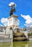 Monument van Philip IV in Plaza DE Oriente in Madrid Stock Foto