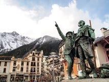 Monument van Saussure en Balmat in Chamonix Mont Blanc Stock Fotografie