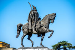 Monument van Skanderbeg in Tirana royalty-vrije stock foto's