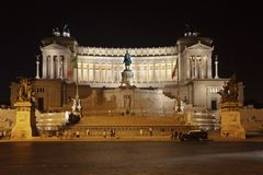 Monument of Victor Emmanuel II at night, Rome Stock Photography