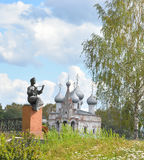 Monument Vologda peasant girl and Church of St. John Chrysostom. Royalty Free Stock Image