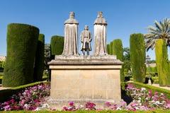 Monument von Christopher Columbus, Königin Isabella, König Ferdinand in Spanien stockbilder