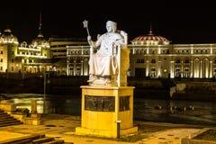 Monument von Justinian I in Skopje stockbild