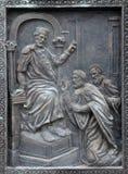 Monument von St. Cyril und Methodius in Skopje lizenzfreie stockbilder