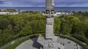 Monument Westerplatte in memory of Polish defenders from a bird`s eye view royalty free stock photography