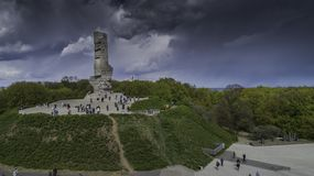 Monument Westerplatte in memory of Polish defenders from a bird`s eye view stock image