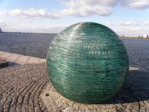 Monument `Wish Ball`. Monument `Wish Ball` with the city on the Dnieper River Dnepr Royalty Free Stock Photography