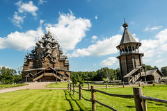 The monument of wooden architecture Pokrovsky graveyard in St. P Royalty Free Stock Images