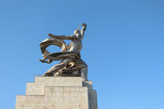 The monument `The Worker and the Kolkhoz Woman` on the background of blue sky Stock Images
