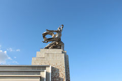 The monument `The Worker and the Kolkhoz Woman` after reconstruction. Moscow Royalty Free Stock Photo