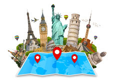 Monument of the world on a map Stock Photography