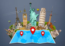 Monument of the world on a map Royalty Free Stock Photos