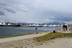 Monument wreck «Fournier» on the waterfront of Ushuaia. Stock Photo