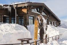 Monument yeti with ski. Stock Photo