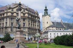 Monument zu Adam Mickiewicz, polnischer Dichter in Lwow, Ukraine Lizenzfreies Stockfoto