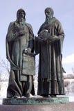 Monument zu Cyril und zu Methody Der Kreml in Dmitrov, alte Stadt in Moskau-Region Lizenzfreie Stockfotos