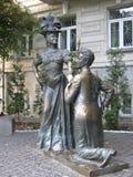 Monument zu den Charakteren des Komödienfilms in Kyiv Stockbilder