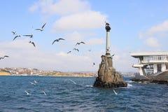 Monument zu den gerannten Schiffen in Sewastopol-Stadt (Krim) Stockbild