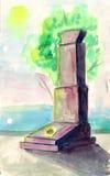 Monument zu den Soldaten des Krieges, Aquarellillustration Stockfotos
