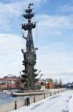 Monument zu Peter der Große auf dem Moskau-Fluss Stockfotos