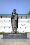 Monument zu St. Sergius von Radonezh nahe den Klosterwänden der Dreiheit-Sergius Lavra Stockfoto
