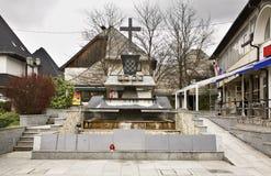 Monument zu starb im Bürgerkrieg Jajce Schattierte Entlastungskarte mit HauptStadtgebieten Lizenzfreie Stockfotos