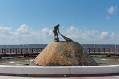 Monument zum Fischer in der Stadt von Chetumal, Mexiko lizenzfreies stockfoto