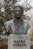 Monument zum Nationalheldapostel Vasil Levski aufgestellt in der bulgarischen Stadt Burgas im Seegarten lizenzfreie stockfotografie