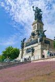 Monument zur Vereinigung Deutschlands und das Ende des Franco-preussischen kriegs- Ruedesheim morgens Rhein, Hessen, Mikrobe Stockfoto